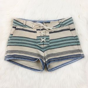 MONROW Blue Stripe Cotton Lace Up Shorts